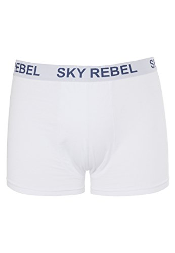 Sky Rebel Herren Boxershorts Double Pack Logo weiß L