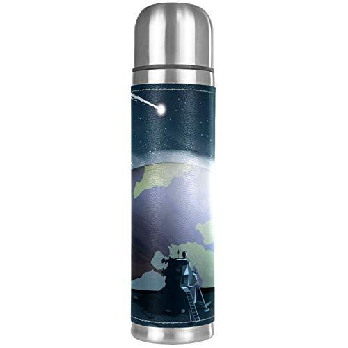 Outer Space - Botella térmica de acero inoxidable con aislamiento de piel, para café caliente o té frío + tapa para beber, perfecto para oficina, camping y al aire libre