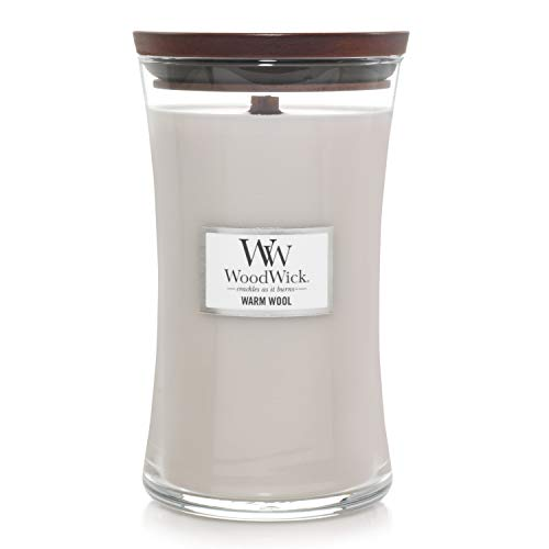 Woodwick Hourglass Candela Profumata Grande con Stoppino Scoppiettante, Fino A 130 Ore, Cera, Grigio (Lana Calda)