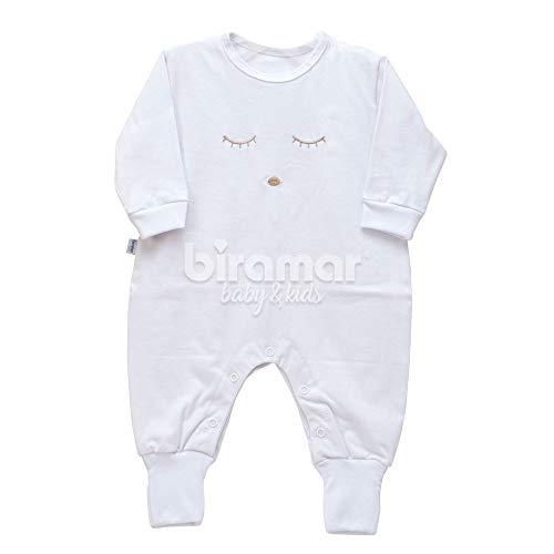 Macacão para Bebê Bordado com Cílios G - Branco, Biramar Baby, Branco