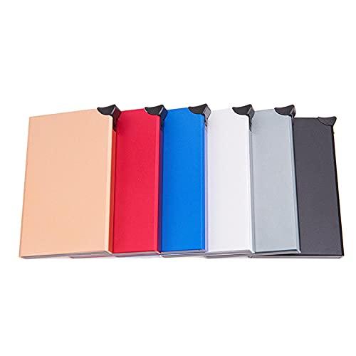 Caja antirrobo antirrobo para tarjetas de crédito de Amazon con tecnología RFID transfronteriza, tipo tarjeta emergente automática, caja de tarjeta de crédito de aluminio de metal, color negro