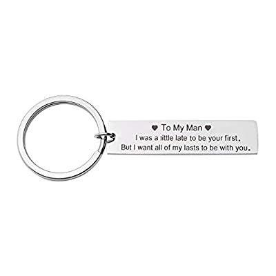 Couples Gifts Valentines Day Gifts for Him, Personalized Gifts for Boyfriend Husband I Want All of My Lasts to Be with You Keychain (Boyfriend Keychain)