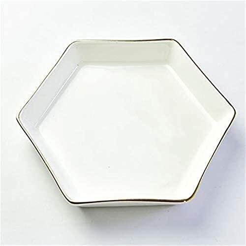 Slscyx Bone China Plato de cerámica Hexagonal Plato de arroz bañados en Oro del hogar Pastel de arroz Tazón Regalo Placa Blanca 6 Pulgadas Plato Hondo