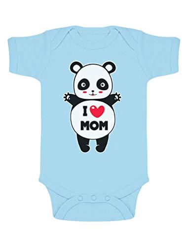 Green Turtle Fête des Mères - Panda I Love U Mom Body Bébé Manche Courte 0-3 Mois Bleu Ciel