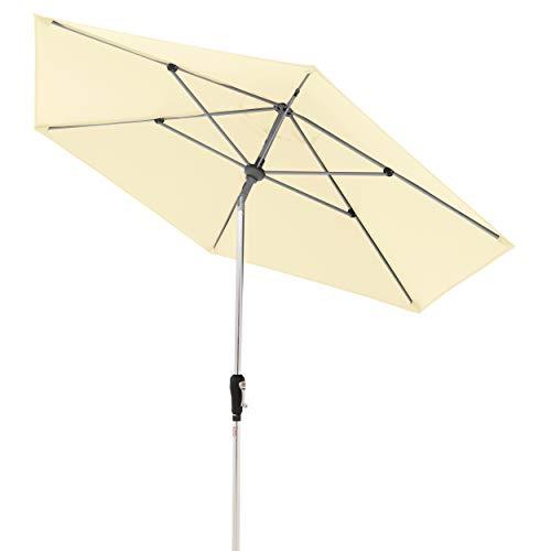 Doppler Aluminium Sonnenschirm SL-AZ 275, Knickbarer Sonnenschutz für Balkon oder Terrasse, Regenabweisend, Natur, 275 cm