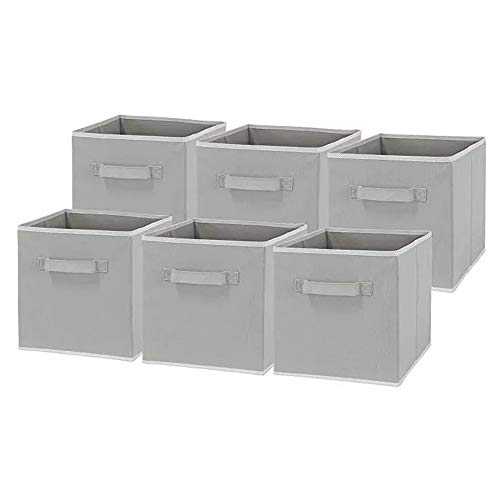 thematys Zusammenfaltbare Kleiderboxen 6er Set - Aufbewahrungstaschen in 4 Designs (Hellgrau)