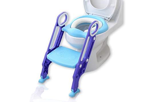 KEPLIN Töpfchentrainer Toiletten-Trainer Kinder Töpfchen Kinder-Toilettensitz mit Leiter Töpfchen Sitz für Toiletten 38-42cm (Lila)