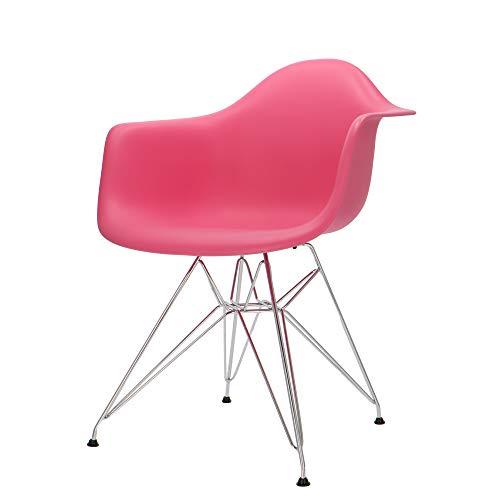 Popfurniture Designerstoel met armleuningen en roestvrij stalen poten, vele kleuren, robuust, lichte constructie, eetkamerstoelen, eetkamerstoelen, eettafel, keukenstoelen, eetkamerstoel