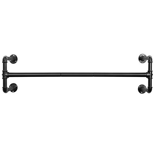 SONGMICS Wall-Mounted Clothes Rack, Industrial Pipe Clothes Hanging Bar, Space-Saving, 43.3 x 11.8 x 11.5 Inches, Holds up to 132 lb, Easy Assembly, for Small Space, Black UHSR64BK