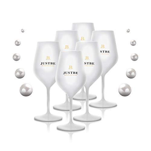 JUST BE Sektgläser aus bruchsicherem Acrylglas | Sekt-Gläser Premium Weiß | 6 Stück
