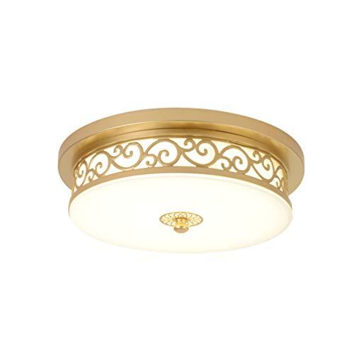 24W LED Antik Deckenleuchte Dimmbar Flurlampe Vintage Decken Lampe, Landhaus Rund Design Deckenlampe Metall Glas Deckenstrahler für Esszimmer Wohn-Schlafzimmer Bad Küche Licht Ø40*H12cm (Gold)
