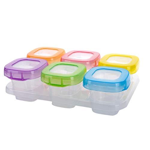 Baby spenen voedsel invriezen kubussen lade PotsFreezer Opslagmet Clip-onDeksel diepvriezer opgeslagenGemengde kleuren 6PCS 60ml