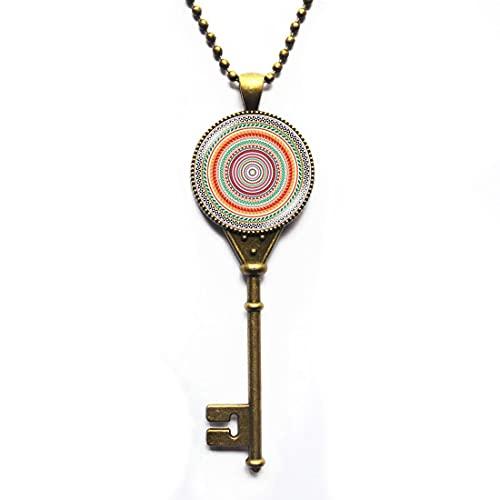 Collar con llave de mandala, colgante de mandala, colgante de yoga, regalo de arte, accesorios para hombres, para mujeres, N066