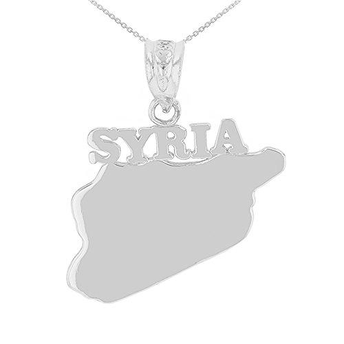 Colgante de oro blanco de 9 quilates de Siria Country