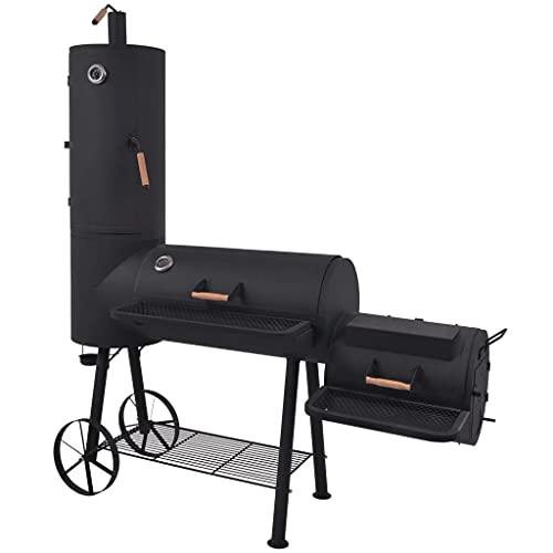 vidaXL BBQ Charcoal Smoker with Bottom Shelf Black Heavy XXL Barbecue Grill