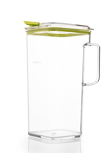 Komax Tritan Plastic Pitcher With Lid | 60-oz (1.8-quart) Water Pitcher With Green Lid | Compact...