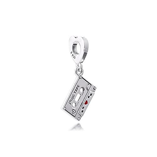 Diy 925 Pandora Colgante Se Adapta A La Pulsera Vintage Cassette Cuelga El Encanto De Cuentas De Plata Esterlina Para La Joyería De Las Mujeres
