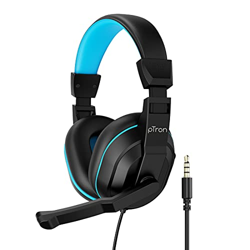 pTron Studio Lite Stereo Sound Wired Headphones, Ergonomic Over-Ear Headset for Work from Home, Adjustable Mic & Integrated Volume Control, 3.5mm Aux Jack & 1.3 Meter Tangle-Free Cord (Black & Blue)