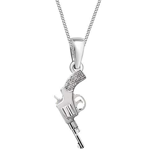 G-H Pistole Revolver Anhänger mit Halskette 925 Echt Sterling-Silber Rotgold Gold (A-Silber, 40)