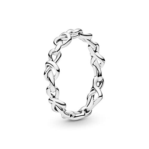 Pandora Anillo de plata con corazones anudados, talla 58