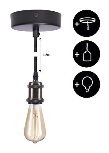 Preisvergleich Produktbild CROWN LED Bronze Lampenfassung E27 + Textilkabel + Deckenfassung + Edison Leuchtmittel dimmbar