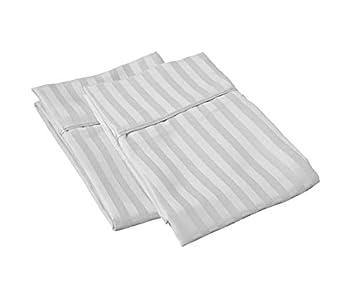 SGI bedding Queen Pillowcase 600 Thread Count 100% Egyptian Cotton Silver Grey Stripe  Pack of 2