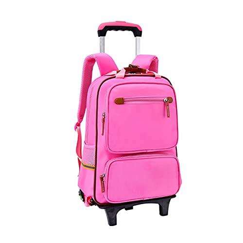 Mochila Escolar con Ruedas Trolley Bag, Mochila Escolar Para Niños Con Rueda Gran Capacidad Equipaje De Bolsillo De La Escuela (Color : Pink)