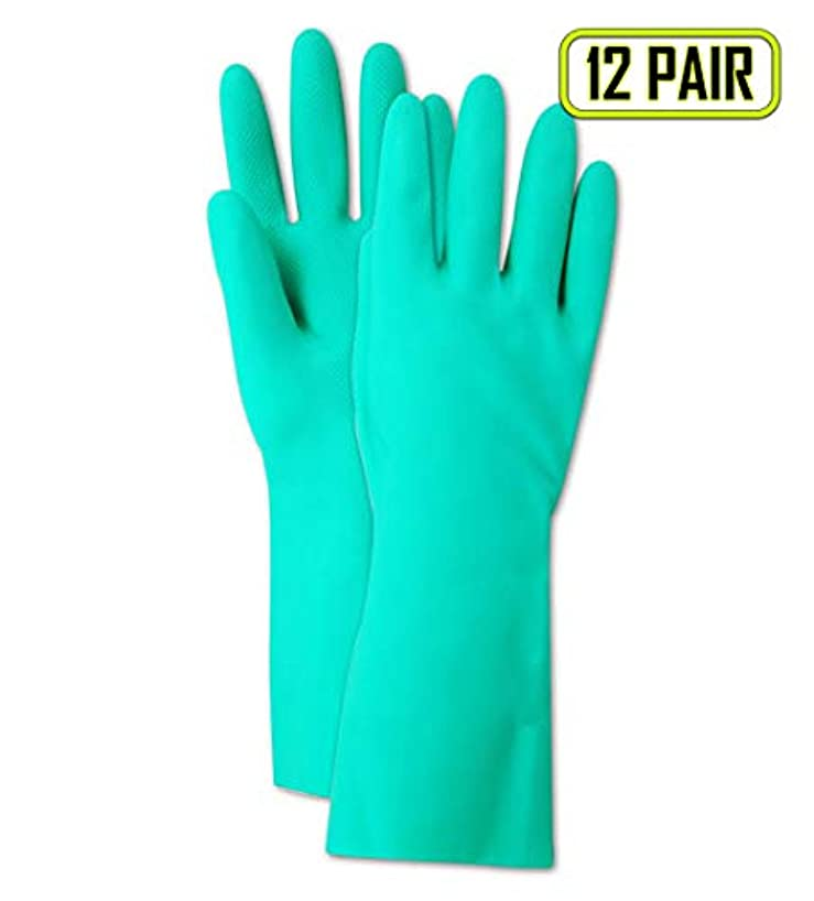 Magid Glove & Safety RS15-10 Magid Comfort Flex RS15 15 Mil Unlined Diamond Grip Nitrile Gloves, X-Large, Green , 10 (Pack of 12)