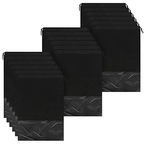 Chudian 18Pcs Bolsas Zapatos Viaje Impermeables, Bolsas para Zapatos para Almacenar Bolsas Zapatos de Telas no Tejidas con Cordón para Zapatos Deportivos Tacones Altos de Adultos y Niños (Negro)