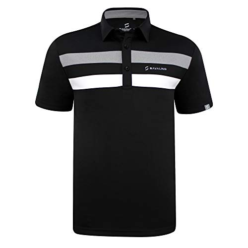 SAVALINO Men's Bowling Polo Shirts Material Wicks Sweat & Dries Fast (2XL, Black)