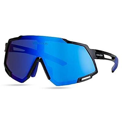 COMAXSUN Polarized Cycling Sunglasses with 5 Lens Anti-UV400,Mens Womens Sports Glasses,Running Fishing Driving Sunglasses (Black Blue)