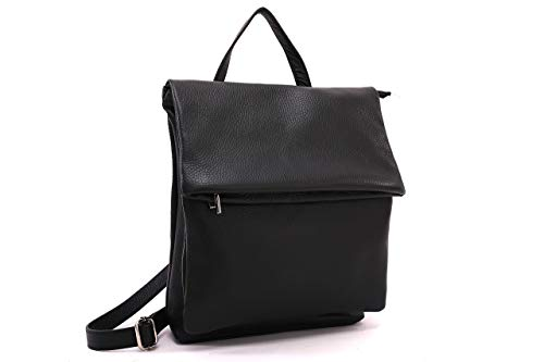 Genuine leather Ladies Backpack Genuine Leather Made IN Italy Black, Taupe, Red - Black
