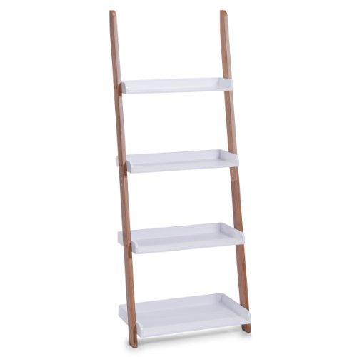 Zeller 18632 - Estantería Tipo Escalera con 4 repisas (55 x 30 x 145 cm, Madera de bambú y Tablero DM), Color Blanco