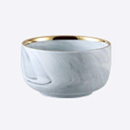 XiuXiu Nordic Rice Bowl Soupe Bol Bol De Riz Marbre En Céramique Blanc + Or Ménage 4.5 Pouce-10.8X6.2CM