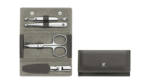 Zwilling Classic 97697-005-0 Set de 4 manucure en acier inoxydable pour les mains et les pieds en cuir de vachette Anthracite