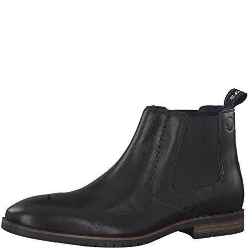 s.Oliver Herren Stiefeletten 15303-23, Männer Chelsea Boots, Stiefel halbstiefel Bootie Schlupfstiefel flach Herren Men,Black Leather,41 EU / 7.5 UK