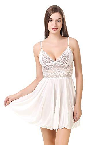 Jara Collection Satin Sexy Night Wear for Women/Girls (White, Free Size)