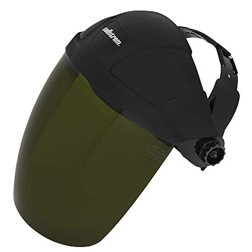 Sellstrom Single Crown Safety Face Shield with Ratchet Headgear, Shade 5 IR Tint, Uncoated, Black,...