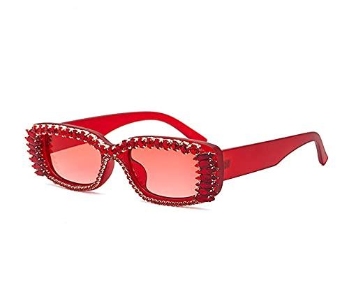 BANLV Gafas de Sol con Tachuelas de Diamantes Europeas y Americanas, Mujeres, con Personalidad, Gafas de Sol cuadradas, Mujeres