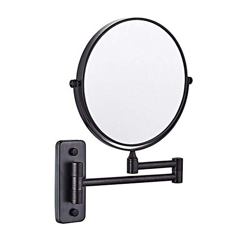 HYZXK Espejo de Maquillaje de Pared Negro de 8 Pulgadas, Giratorio de Dos Caras, Espejo de Pared, Espejo de Maquillaje cosmético para Afeitar de baño Plegable y Extensible, Aumento 3X/