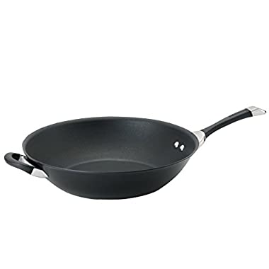 Circulon Symmetry Black Hard Anodized Nonstick 14-Inch Stir Fry with Helper Handle