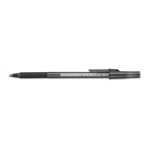 Paper Mate Products - Paper Mate - Write Bros Grip Ballpoint Stick Pen, Black Ink, Fine, Dozen - Sold As 1 Dozen - 15% longer, softer rubber grip. - Reliable and affordable. - Visible ink supply. - Ideal pen for home, school and office use. -