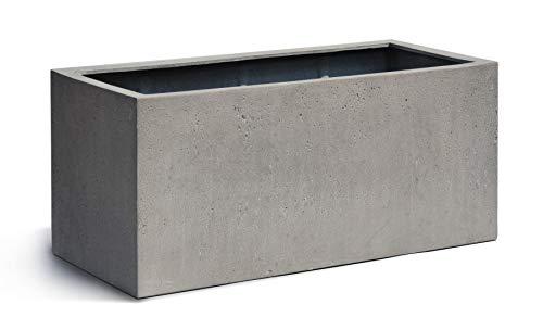VAPLANTO® Pflanzkübel Box 80 Beton Grau Rechteckig * 80 x 31 x 31 cm * Manufaktur Qualität * 10 Jahre Garantie