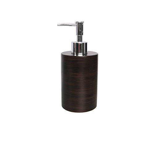 SANIMIX Hochwertiger Brauner Seifenspender in Holzoptik - Lotionspender aus Keramik - Badserie Marrone
