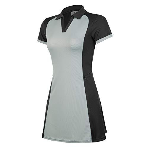 ANIVIVO Tennis Dress for Women with Pocket, Women Polo Golf Dress& Tennis Clothing for Women Sports Dress V-Neck(Black-M)