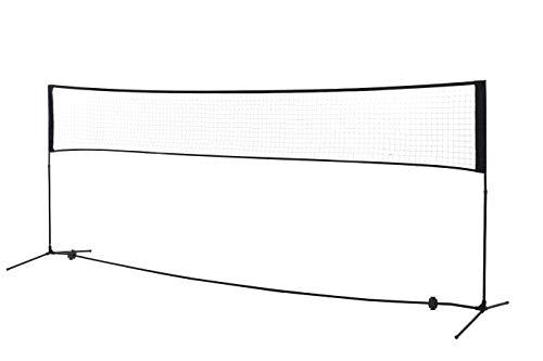 homcom Rete Portatile da Volano Altezza Pieghevole 4 Adulti o Bambini Leggera in polietilene Acciaio Nero 400 x 103cm