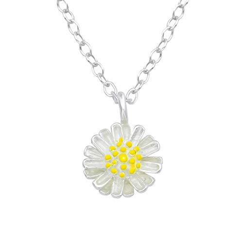 Laimons Damen-Anhänger mit Kette Blume Gänseblume glanz vergoldet Sterling Silber 925