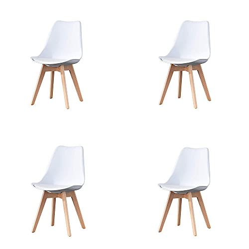 VERDELZ Set of 4, ABS PP Nordic Dining Chair with Beech Wood Legs for Dining Room, Living Room, Office, Bedroom, White