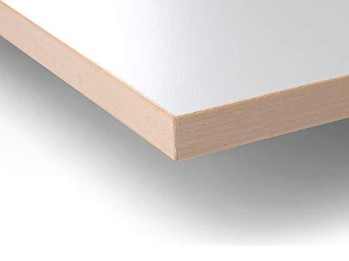Modulor Holz Tischplatte in 1,9 x 60 x 120 cm mit Kern aus Spanplatte, Platte für Arbeitstisch, mit Buche-Umleimer und Laminatbeschichtung, weiß geperlt