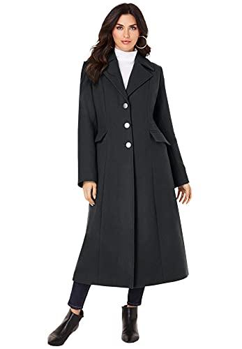 Roaman's Women's Plus Size Long Wool-Blend Coat Winter Classic - 18 W, Black